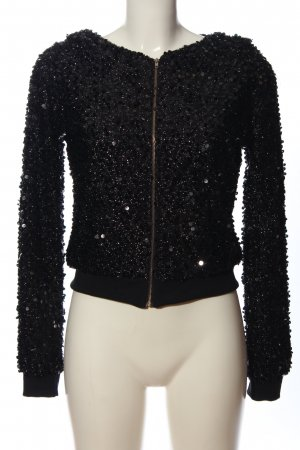 Madonna Hooded Sweatshirt black-silver-colored wet-look