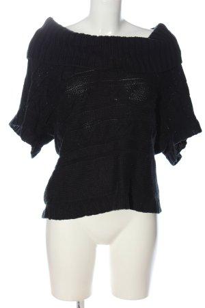 Madonna Kurzarmpullover schwarz Zopfmuster schlichter Stil