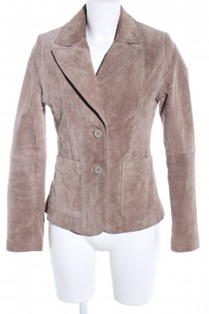 Madonna Lederjacke braun-wollweiß Business-Look