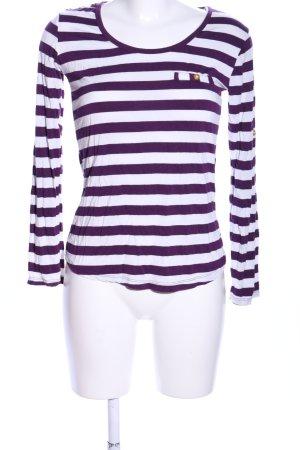 Madonna Longshirt lila-weiß Streifenmuster Casual-Look
