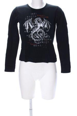 Madonna Longsleeve schwarz-weiß Motivdruck Casual-Look
