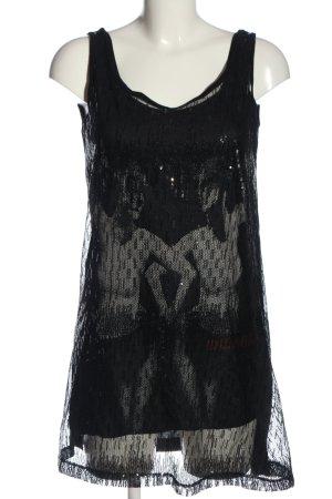 Madonna Pailettenkleid schwarz-hellgrau Motivdruck Casual-Look
