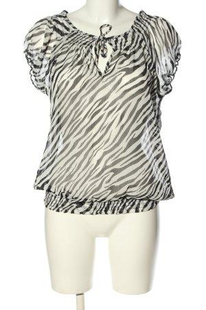 Madonna Schlupf-Bluse schwarz-weiß Allover-Druck Casual-Look