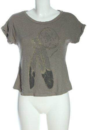 Madonna Strickshirt hellgrau Motivdruck Casual-Look