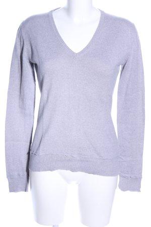 Madonna V-Ausschnitt-Pullover silberfarben meliert Casual-Look