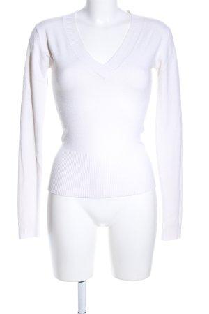 Madonna V-Ausschnitt-Pullover weiß Business-Look