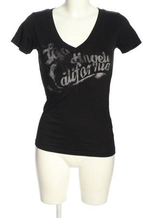 Madonna T-shirt col en V noir lettrage imprimé style décontracté