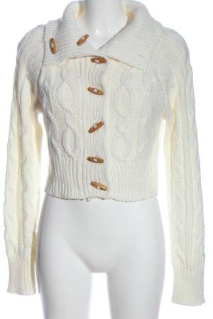 Madonna Jersey de lana blanco punto trenzado look casual