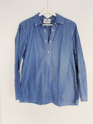 Mads nørgaard Camicia blusa blu acciaio-bianco