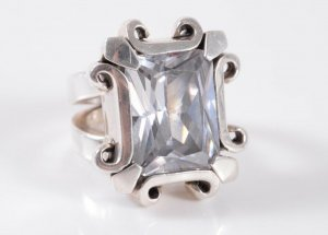 Mächtiger 925 Sterling XXL Silber Ring Kristall Unikat Luxus 54g!!! Luxus