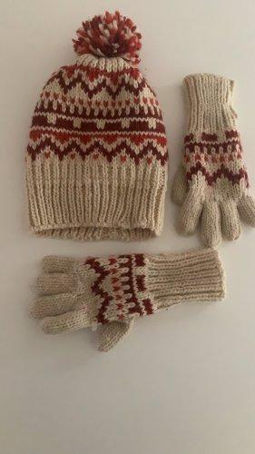 Verbaudet Gebreide handschoenen wolwit-donkerrood
