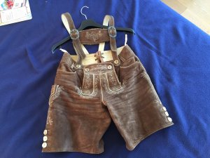 Pantalon traditionnel en cuir brun-cognac