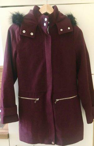New Look Short Coat bordeaux-carmine polyester