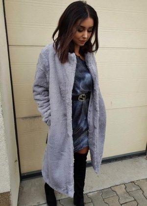Manteau en fausse fourrure gris
