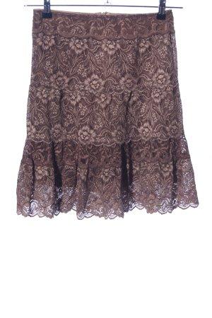 Falda de encaje marrón estampado floral elegante