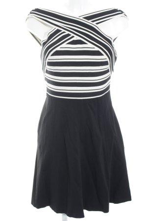 Maeve A-Linien Kleid schwarz-wollweiß Streifenmuster Elegant