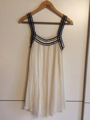 Magali Pascal Sukienka typu babydoll biały-czarny Jedwab