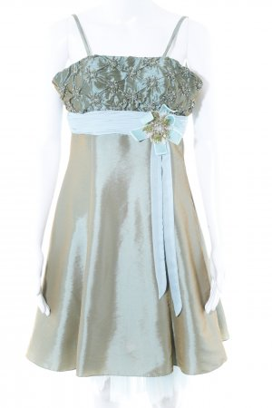 Magic Nights schulterfreies Kleid graugrün-babyblau Metallic-Optik