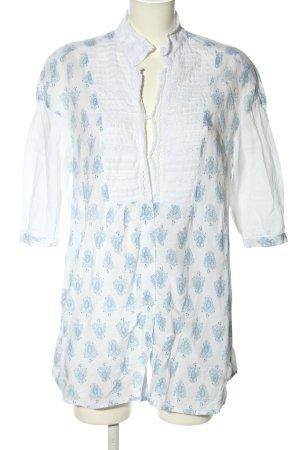 Magic Woman Long-Bluse weiß-blau Allover-Druck Casual-Look