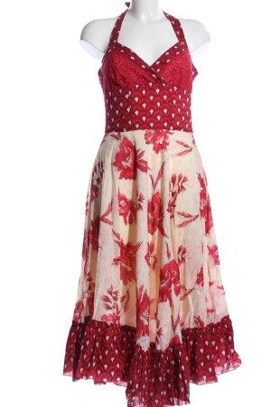 Magic Woman Vestido de cuello Halter rojo-crema elegante