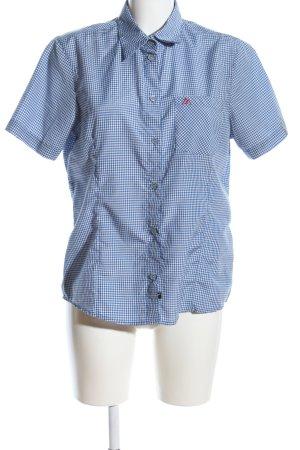 Maier Sports Hemd-Bluse blau-weiß Allover-Druck Casual-Look