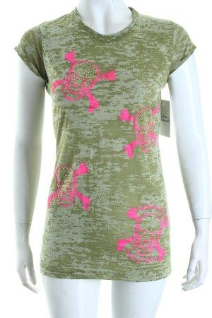 Maison Espin T-Shirt olivgrün-neonpink Motivdruck Casual-Look