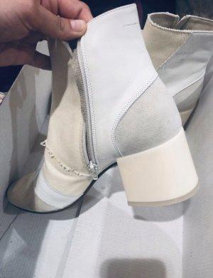 Maison Martin Margiela Tabi Ankle Boots Ivory Leder Baumwolle Canvas creme beige 37 patchwork monochrome