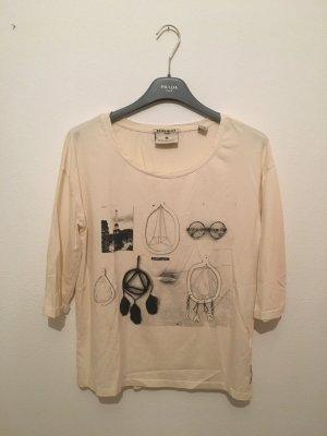 Maison Scotch 1 36 Shirt Deep rundhals creme beide Sand schwarz fotoprint Fotodrucker printshirt dreiviertelarm
