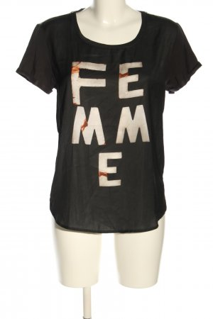 Maison Scotch Blouse Shirt black-white printed lettering casual look
