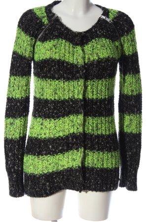 Maison Scotch Cardigan grün-schwarz Streifenmuster Casual-Look