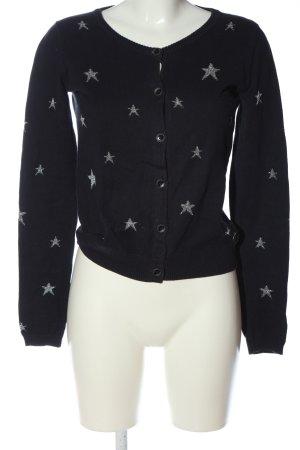 Maison Scotch Cardigan schwarz-silberfarben Allover-Druck Casual-Look