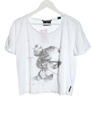 Maison Scotch Camicia cropped bianco-grigio chiaro Stampa a tema stile casual