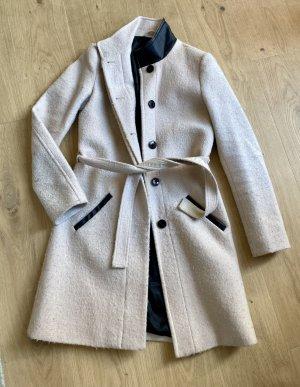 Maison Scotch Damen Business Mantel 36 wollmantel wolle beige Leder schwarz