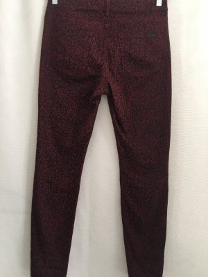 Maison Scotch -Damen Stretch Hose - Animalprint Dunkelrot/Schwarz - Gr 30/32