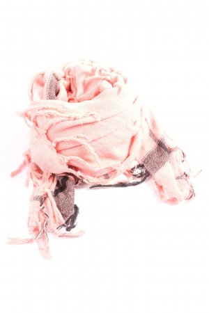 Maison Scotch Sciarpa con frange rosa-grigio chiaro motivo a quadri stile casual