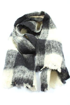 Maison Scotch Bufanda de flecos blanco-negro estampado a cuadros look casual