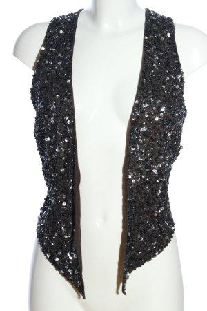Maison Scotch Fringed Vest black wet-look