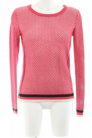 Maison Scotch Häkelpullover pink Streifenmuster Casual-Look