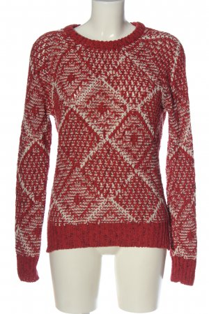 Maison Scotch Szydełkowany sweter czerwony-biały Graficzny wzór