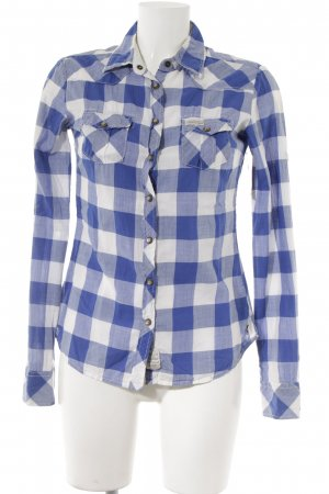 Maison Scotch Hemd-Bluse blau-weiß Karomuster Casual-Look