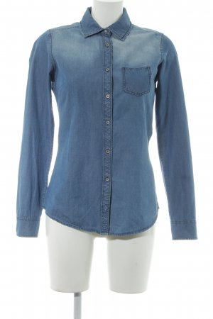 Maison Scotch Jeansbluse kornblumenblau Washed-Optik