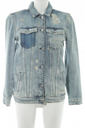 Maison Scotch Jeansjacke stahlblau-wollweiß Used-Optik
