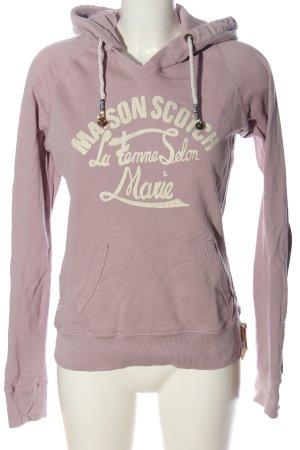 Maison Scotch Kapuzensweatshirt braun-creme Schriftzug gedruckt Casual-Look