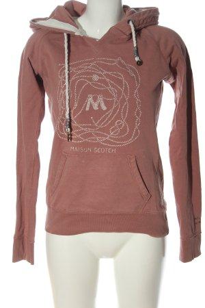 Maison Scotch Kapuzensweatshirt braun-wollweiß Motivdruck Casual-Look