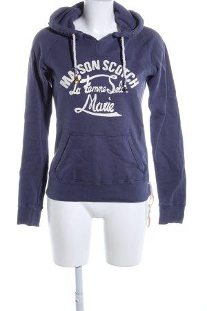 Maison Scotch Kapuzensweatshirt blau-weiß Schriftzug gedruckt Casual-Look