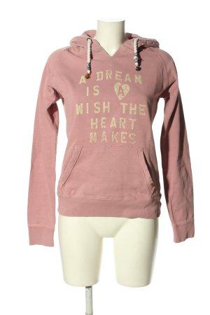 Maison Scotch Kapuzensweatshirt pink-blassgelb Schriftzug gedruckt Casual-Look