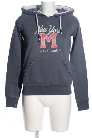 Maison Scotch Kapuzensweatshirt hellgrau Schriftzug gedruckt Casual-Look