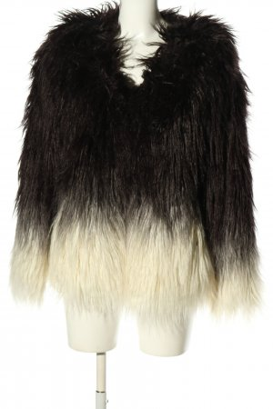 Maison Scotch Kunstfelljacke schwarz-wollweiß Elegant