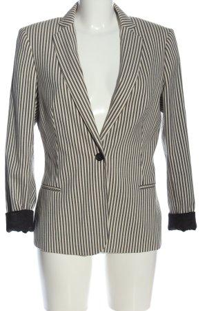 Maison Scotch Korte blazer wolwit-zwart gestreept patroon zakelijke stijl