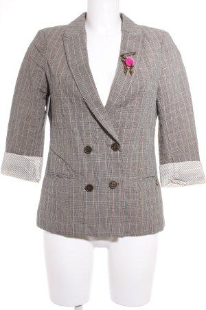 Maison Scotch Korte blazer geruite print zakelijke stijl